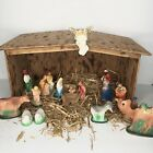 Vintage Christmas Nativity Set 18 Piece Plaster Chalk Figurines Wooden Manger