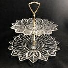 Vintage 2-Tier Glass Petal-Pattern Serving Tray PARTY Tidbits