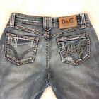 Dolce  Gabbana Icon Vintage Distressed Boot Cut Low Rise Womens Jeans