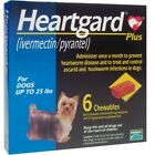 Heart gard Plus 6 Chewable Tablets for Dogs up to 25 lbs Blue Free ship+Track