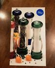 New in Box Olde Thompson Vista Acrylic Pepper Mill  Salt Shaker Set Cobalt Blue