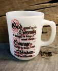 Vintage Fire King Anchor Hocking D Handle Coffee Mug With Religious Scripture