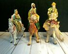 3 Three Kings 5 Wisemen Xmas Fontanini Nativity Figurine Plastic Horse Elephant