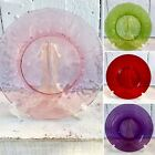 Set/4 VINTAGE Glass Luncheon Salad Dessert Plates ~Pink~Ruby~Green~Amethyst~