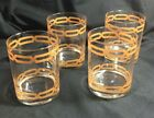 Vintage Mid-Century Barware Low Ball Rocks Glasses Gold/Copper Geometric Design
