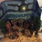 Grandeur Noel 2001 African American 11piece Fabric Mache Nativity Set W Backdrop