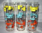 3 VINTAGE FEDERAL GEOMETRIC DESIGN MID CENTURY MODERN TUMBLERS TEA GLASSES