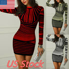 Fashion Womens Long Sleeve Print Bodycon Clubwear Cocktail Party Mini Dress USA