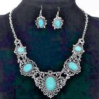 Bohemian Bib Style Tibetan Silver Oval Turquoise Necklace and Earring Set