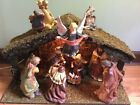 SET of 11 PIECE LIGHTED NATIVITY SET WITH STABLE QVC CERAMIC