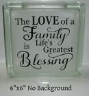 Love of Family Our Family Story My Crazy Aunt decal sticker DIY 8 glass block
