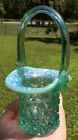 55 FENTON DAISY AND BUTTON BASKET HAT IRIDESCENT OPALESCENT AQUA MINI