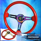 For Nissan 6 Bolt Red Neo Chrome Steering Wheel 3 Spokes Newbie Leaf Button