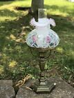 Fenton Trellis Glass Lamp Hand Painted Flowers and Artist Signed 19