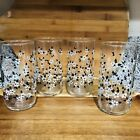 Vintage Set 4 LIBBEY Black White Daisy Floral Drinking Glasses Tumblers