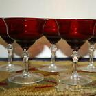 Set of 6 Ruby Red 5 Dessert Goblets Clear Stems