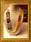 Native American Design Red Yellow Black Beaded Necklace 24 NWOT