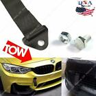 1x Sports Black High Strength Racing Tow Strap Set For Front Rear Bumper Hook