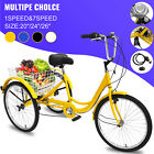 20 24 26 Adult Tricycle 1 7 Speed 3 Wheel Large Basket For Shopping Optional