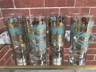 Set Of 4 NOS Mid Century Modern Gold And Teal Glasses Williamsburg VA FREE SHIP