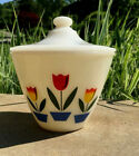 VINTAGE FIRE KING TULIP Grease JAR WITH LID Red White KITCHEN OVEN WARE  A+