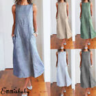 US Sexy Women Striped Boho Sundress Summer Holiday Beach Cotton Linen Maxi Dress