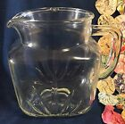 Vintage Federal Glass Clear Starburst Pattern 1 Quart Juice Water Pitcher 1950's