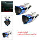 2PCS Heart shaped Baked Blue Exhaust Tip Tail For Car Vehicles anti corrosion