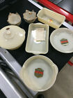 FIRE KING OVENGLASS 12 Piece Set IVORY UNUSED w/ Decals Vintage FIRE-KING IVORY