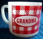 VINTAGE FEDERAL GLASS GRANDMA COFFEE MUG/CUP RED CHECKERED PLAID MILK GLASS