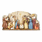 Nativity Wall Natural Brown 11 x 5 Resin Stone Christmas Four Candlestick Holder