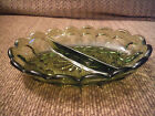 Great condition! Vintage Green Glass Divided Relish Dish Tray 7