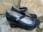 Jambu Bravada Wedge Heel Mary Janes Black Leather Size 75M Excellent Cond