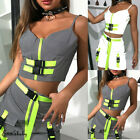 US Sexy Women Reflective Tracksuit Buckle Patchwork V Neck Crop Top Tank Skirt