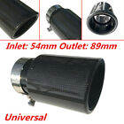 Carbon Fiber Cover Stainless Steel Car Exhaust Pipe Muffler End Tip 54mm Inlet