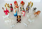 Vintage Nativity Set Plastic Celluloid 20 Piece Estate Lot Primitive Christmas