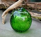 Vintage Green Apple Murano Art Glass Paperweight Ground Pontil Controlled Bubble