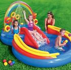 Kids Children Rainbow Rings Inflatable Pool Water Play Center With Slide Games