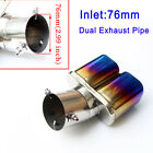 Universal Stainless Steel Rear Exhaust Tailpipe Tip Muffler Cover 3 76mm Inlet