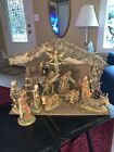 Vintage Large 10 Piece Nativity Set with Musical Manger Stable Made in Italy