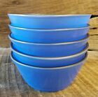 5 Vintage Anchor Hocking Fire King Blue Cereal Bowls 4 3/4