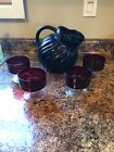 ANCHOR HOCKING ROYAL RUBY TILTED SWIRL BALL PITCHER WITH 4 GLASSES A+ CONDITION