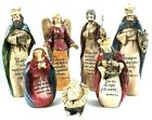 Christmas Nativity Set of 7 Holy Family Bible Verses Figures Resin 6