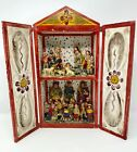 Vintage Mexican Hand Painted Folk Art Nativity Scene 2 Story Shadow box w doors