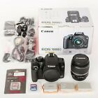 Canon EOS 1000D DSLR Camera + EF S 18 55mm Lens + 3 Batteries + 2 SD Cards