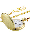 Vintage Pocket Watch Gold Steel Men Watch with Chain for Fathers Day Gift