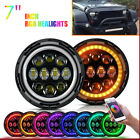 2PC 7inch 75W RGB LED Headlights Hi Lo Beam DRL Bulb For Jeep Wrangler JK CJ TJ