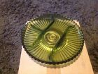 Green glass lazy Susan with brass base , vintage