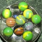 10 Vintage Marbles Citrine Indian Onionskin Swirl with Core AWESOME!!