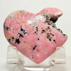45mm Rich Pink Rhodochrosite Heart High Grade Natural Druzy Crystal Stone Peru